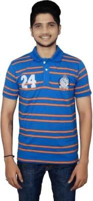 Lemon Slice Striped Men's Polo Neck Blue, Orange T-Shirt