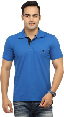 Byrock Solid Men's Polo Neck Blue T-Shirt