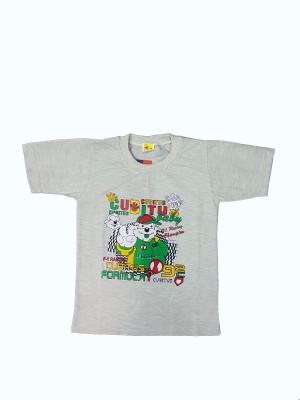 Groverz Printed Boy's Round Neck Grey T-Shirt