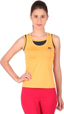 Vector X Solid Womens Round Neck Yellow T-Shirt