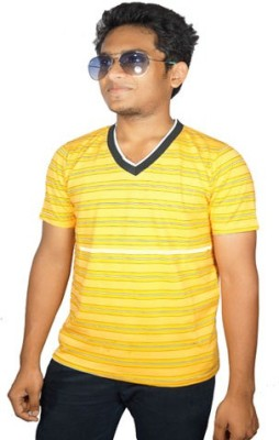 Desi Connection Striped Boy's V-neck Yellow T-Shirt