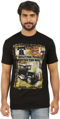 curviva Printed Men's Round Neck Black T-Shirt