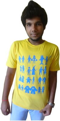 Afro Printed Men's Round Neck Yellow T-Shirt