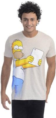 Simpsons Printed Men's Round Neck Grey T-Shirt