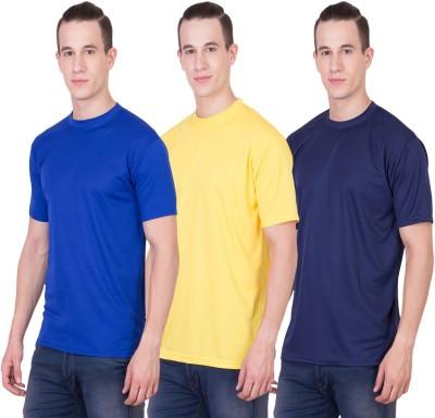 Randier Solid Men's Round Neck Blue, Yellow, Dark Blue T-Shirt