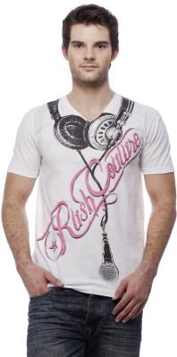 Rush Couture Graphic Print Men's V-neck White T-Shirt