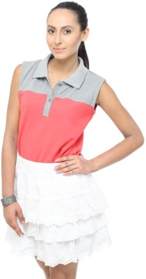 Unicolr Solid Women's Polo Neck Pink, Grey T-Shirt