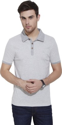 Urban Nomad By INMARK Striped Men's Polo Neck Grey, White T-Shirt