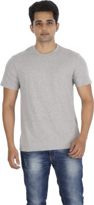 Mogo Apparels Solid Men's Round Neck Grey T-Shirt