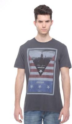 OCTAVE Printed Men's Round Neck Grey T-Shirt