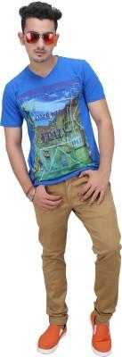 AFLASH Printed Men's V-neck Blue T-Shirt