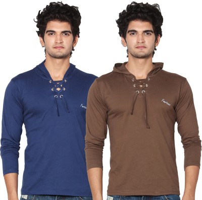 Amp Colors Solid Men's Hooded Blue, Brown T-Shirt