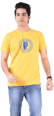Acasual Wear Printed Men's Round Neck Yellow T-Shirt