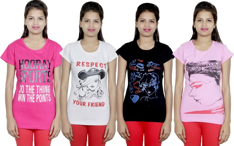 IndiStar Printed Women's Round Neck Multicolor T-Shirt(Pack of 4)