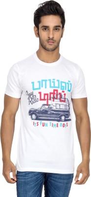 Tee Kadai Printed Men's Round Neck White T-Shirt