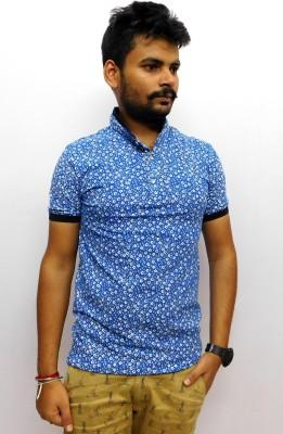 Indiano Printed Men,s Mandarin Collar Blue T-Shirt