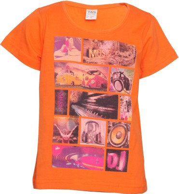 Tales & Stories Graphic Print Boy's Round Neck Orange T-Shirt