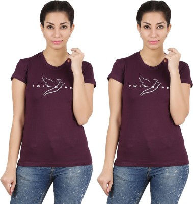 Twin Birds Printed Women's Round Neck Purple T-Shirt