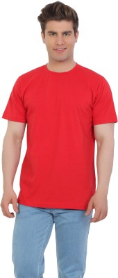 EETEE Solid Men's Round Neck Red T-Shirt