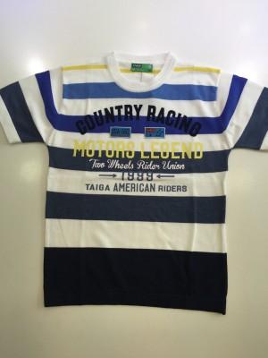 Taiga Striped Boy's Round Neck Blue T-Shirt