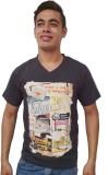 Port Blair Printed Men's V-neck Black T-...