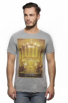 Yo Republic Printed Men's Round Neck Grey T-Shirt