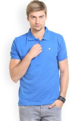 HW Solid Men,s Polo Neck Blue T-Shirt