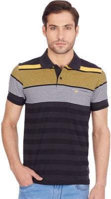 Monte Carlo Striped Men's Polo Neck Black, Yellow T-Shirt