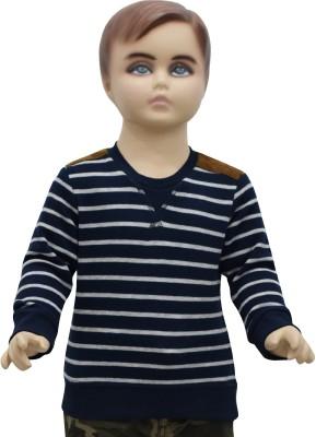 Urban Forest Striped Boy's Round Neck Blue T-Shirt