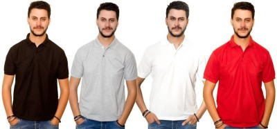 Dreamz Clothing Co Solid Men,s Polo Neck Black, Grey, White, Red T-Shirt