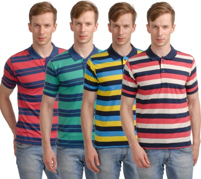 Superjoy Striped Men's Polo Neck Red, Green, Yellow, Pink T-Shirt