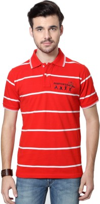 Allen Solly Striped Men's Polo Neck Red T-Shirt