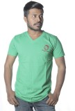 Poonam Solid Men's V-neck Green T-Shirt