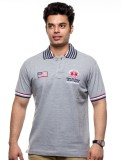 SPW Solid Men's Polo Neck Grey T-Shirt