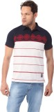 YOO Printed Men's Polo Neck Blue T-Shirt