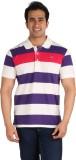 CFT Striped Men's Polo Neck White, Purpl...