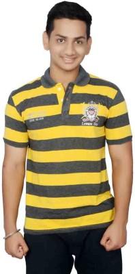 Lemon Slice Striped Men's Polo Neck Black, Yellow T-Shirt