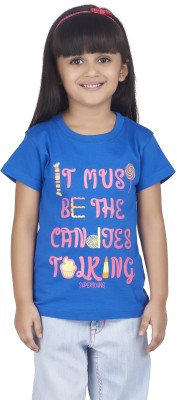 Super Young Printed Girl's Round Neck Blue T-Shirt