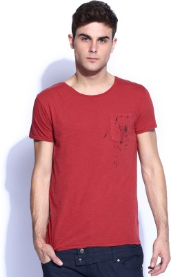 883 Police Solid Men's Round Neck Red T-Shirt