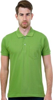 GOINDIASTORE Solid Men's Polo Neck Light Green T-Shirt