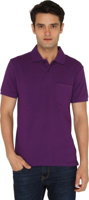 Chromozome Solid Men's Polo Neck Purple T-Shirt