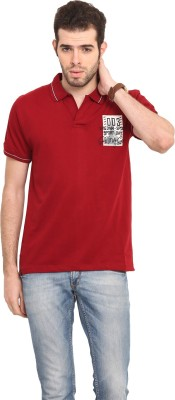 Mode Vetements Solid Men's Polo Maroon T-Shirt