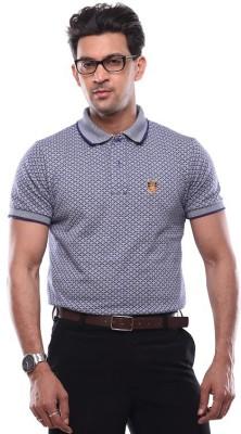 SHAYAN EXPORT Printed Men's Flap Collar Neck Grey T-Shirt