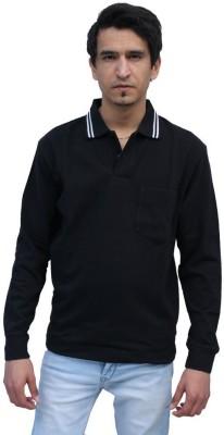 Romano Solid Men's Polo Neck Black T-Shirt