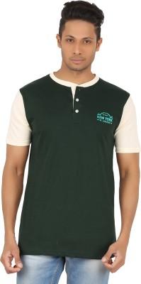 R-CROSS Solid Men,s Henley Green T-Shirt