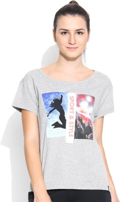Adidas NEO Printed Women's Round Neck Grey T-Shirt
