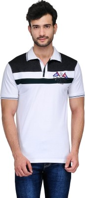 Ausy Solid Men's Polo White, Black T-Shirt
