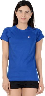 S9 Women Solid Women's Round Neck Blue T-Shirt