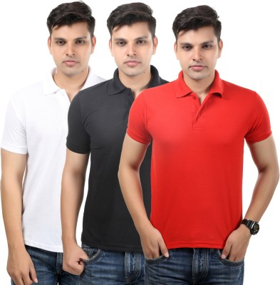 Etoffe Solid Men's Polo Neck White, Black, Red T-Shirt