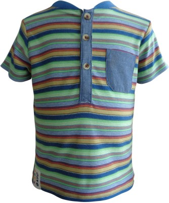 teddy's choice Striped Baby Boy's Polo Neck Light Green T-Shirt